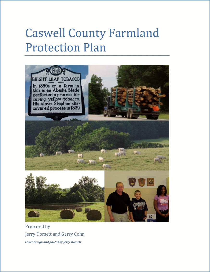 Image of the front page of the Caswell County Farmland Protection Plan.